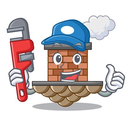 Plumber brick chimney next the cartoon roof