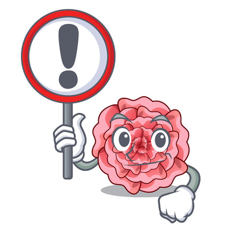 With sign carnation in the a character pot vector illustration Illustration