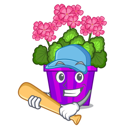 Playing baseball geranium flower isolated with the mascot vector illustration Vettoriali