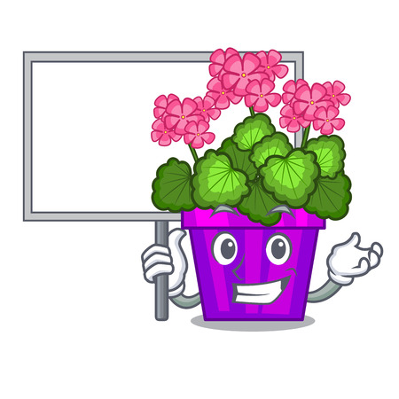 Bring board geranium flower isolated with the mascot Vettoriali