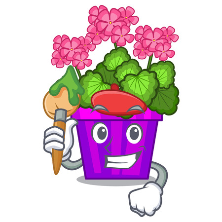 Artist geranium flower isolated with the mascot vector illustration Vettoriali