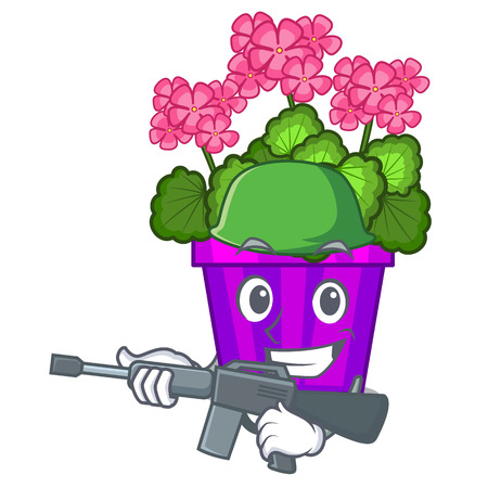 Army geranium flower isolated with the mascot vector illustration
