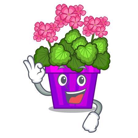 Okay geranium flowers stick the character stem vector illustration