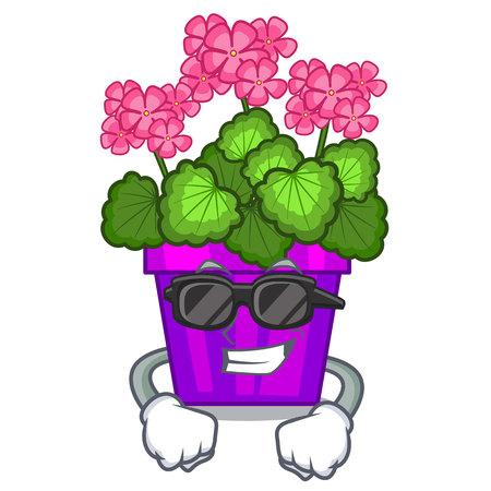 Super cool geranium flowers stick the character stem vector illustration