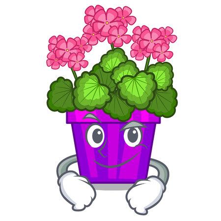 Smirking geranium flowers stick the character stem Çizim