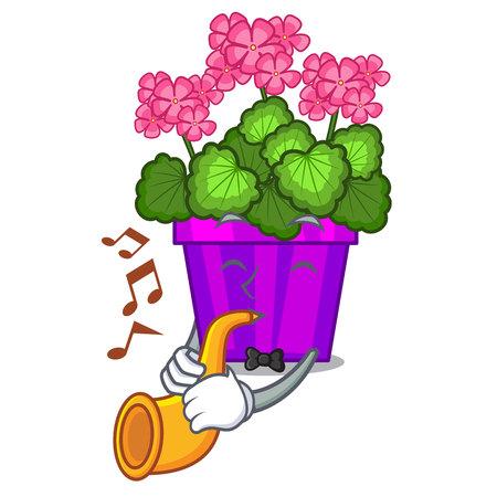 With trumpet geranium flowers in the cartoon pot vector illustration