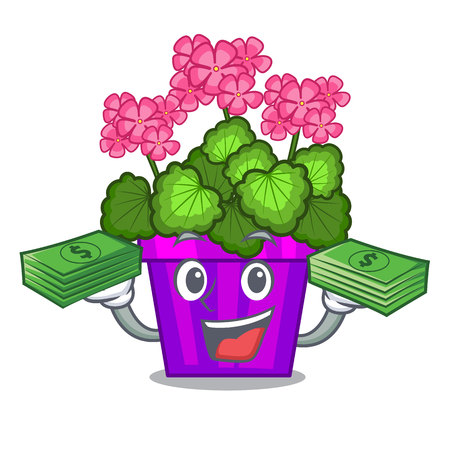 With money bag geranium flowers in the cartoon pot vector illustration