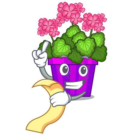 With menu geranium flowers in the cartoon pot vector illustration