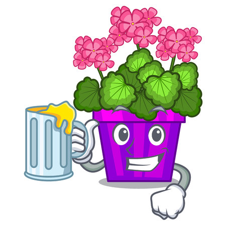 With juice geranium flowers in the cartoon pot vector illustration