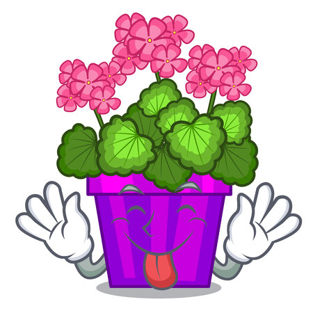 Tongue out geranium flowers in the cartoon shape vector illustration Illustration