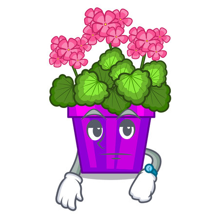 Waiting geranium flowers in the cartoon shape vector illustration