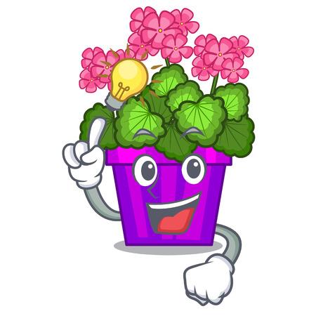 Have an idea geranium flowers in the cartoon shape vector illustration