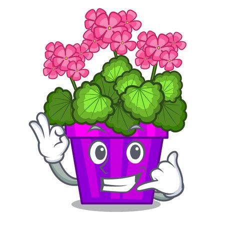Rufen Sie mich an Geranienblumen in der Cartoon-Form-Vektor-Illustration