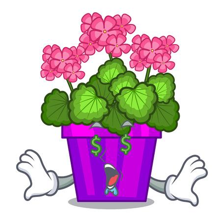 Money eye geranium flowers in the cartoon shape vector illustration Illustration