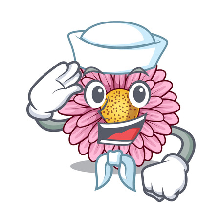 Sailor gerbera flower pot above character table