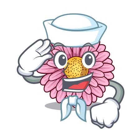Sailor gerbera flower pot above character table