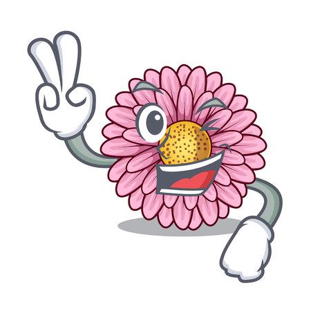 Two finger gerbera flower sticks the mascot stem