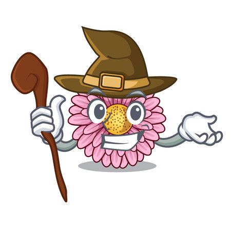 Witch gerbera flower isolated in the cartoon vector illustration