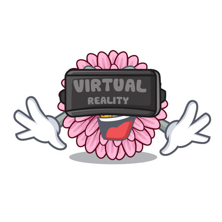 Virtual reality gerbera flower isolated in the cartoon vector illustration