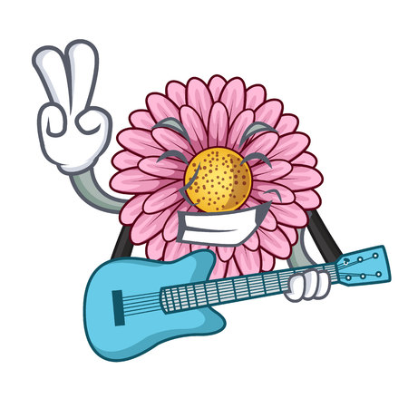 With guitar gerbera flower isolated in the cartoon