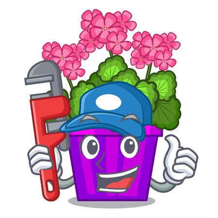 Plumber geranium flowers in the cartoon shape vector illustration