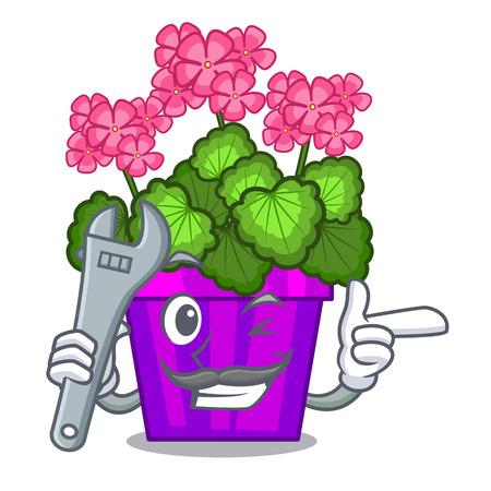 Mechanic geranium flowers in the cartoon shape vector illustration