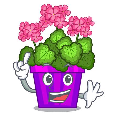 Finger geranium flowers in the cartoon shape vector illustration
