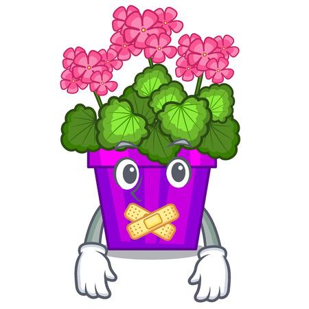 Silent geranium flowers in the cartoon shape vector illustration