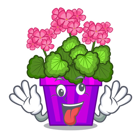Crazy geranium flowers in the cartoon shape vector illustration Illustration