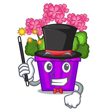 Magician geranium flowers in the cartoon shape vector illustration