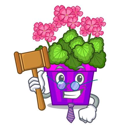 Judge geranium flowers in the cartoon shape vector illustration