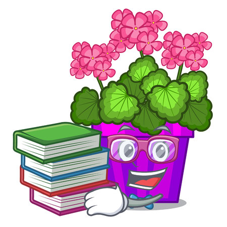 Student with book geranium flowers in the cartoon shape vector illustration Illustration