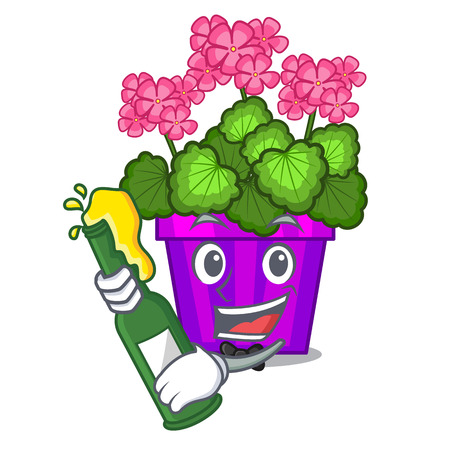 With beer geranium flowers in the cartoon shape vector illustration Illustration