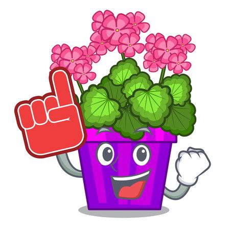 Foam finger geranium flowers in the cartoon shape vector illustration
