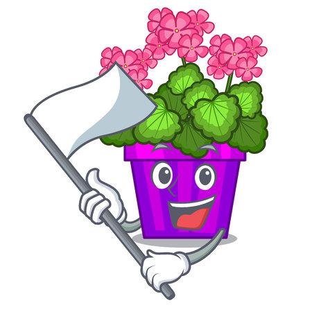 With flag geranium flowers in the cartoon shape vector illustration Illustration