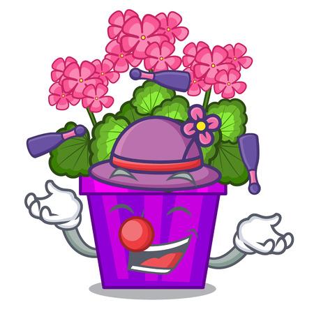 Jonglieren von Geranienblüten in der Cartoon-Form-Vektor-Illustration