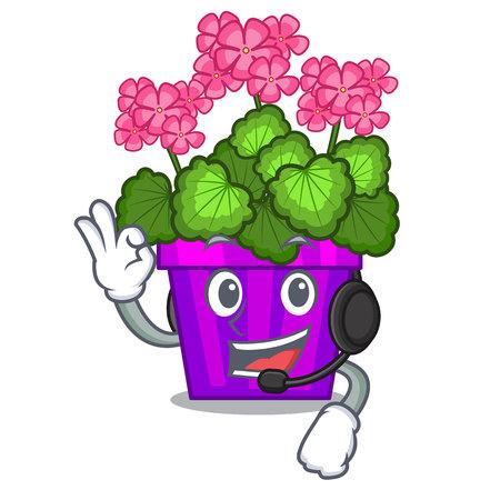 With headphone geranium flowers in the cartoon shape
