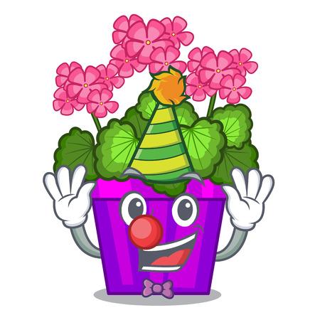 Clown geranium flowers in the cartoon shape vector illustration