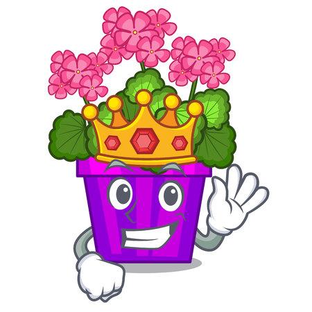 King geranium flowers in the cartoon shape vector illustration
