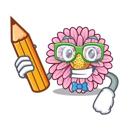 Student gerbera flower sticks the mascot stem