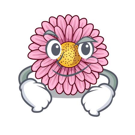 Smirking gerbera flower sticks the mascot stem