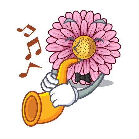 With trumpet gerbera flower isolated in the cartoon