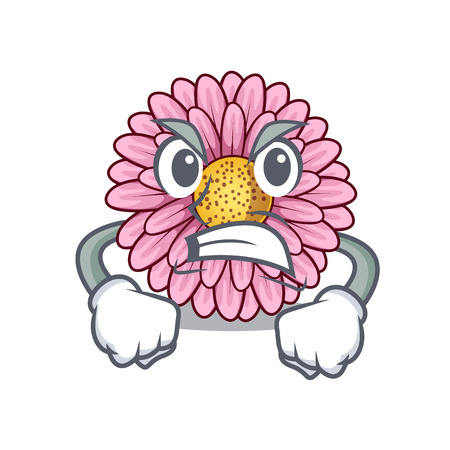 Angry gerbera flower isolated in the cartoon