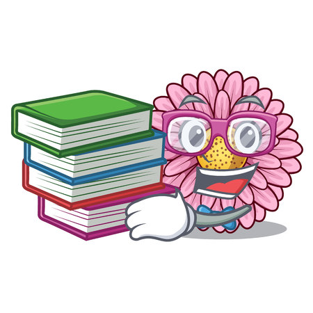 Student with book gerbera flowers in the cartoon shape