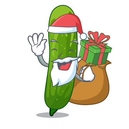 Santa with gift fresh cucumber slice on mascot board vector illustration