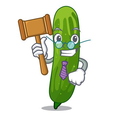 Juger une tranche de concombre frais sur l'illustration vectorielle de mascotte board Vecteurs