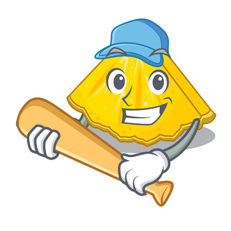Playing baseball pineapple slice with in character shape vector illustration