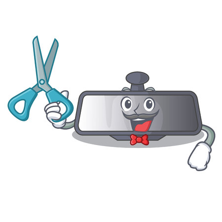 Barber rear view mirror isolated with mascot