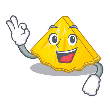 Okay pineapple slice isolated in the mascot vector illustration Vectores