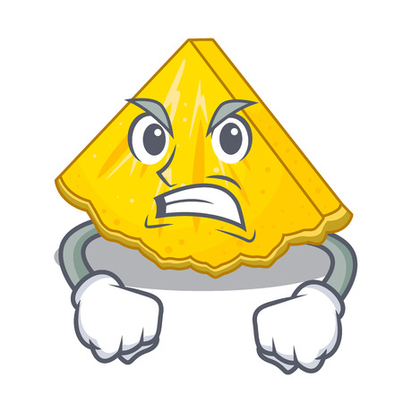 Angry pineapple slice in a cartoon fridge vector illustration Illustration